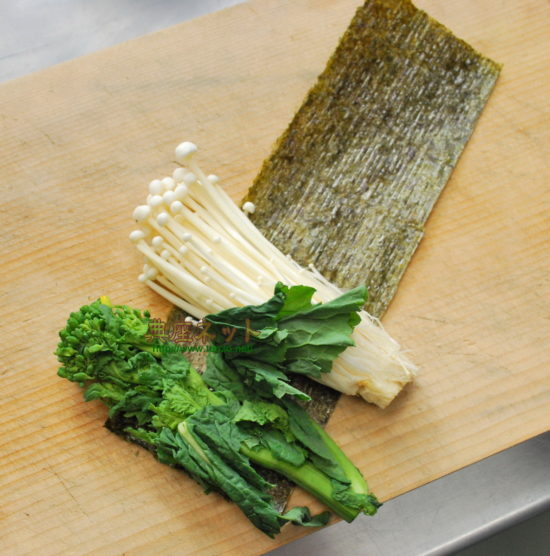 菜の花とえのきの磯部巻天麩羅レシピ