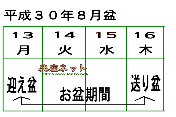 8月盆日程表